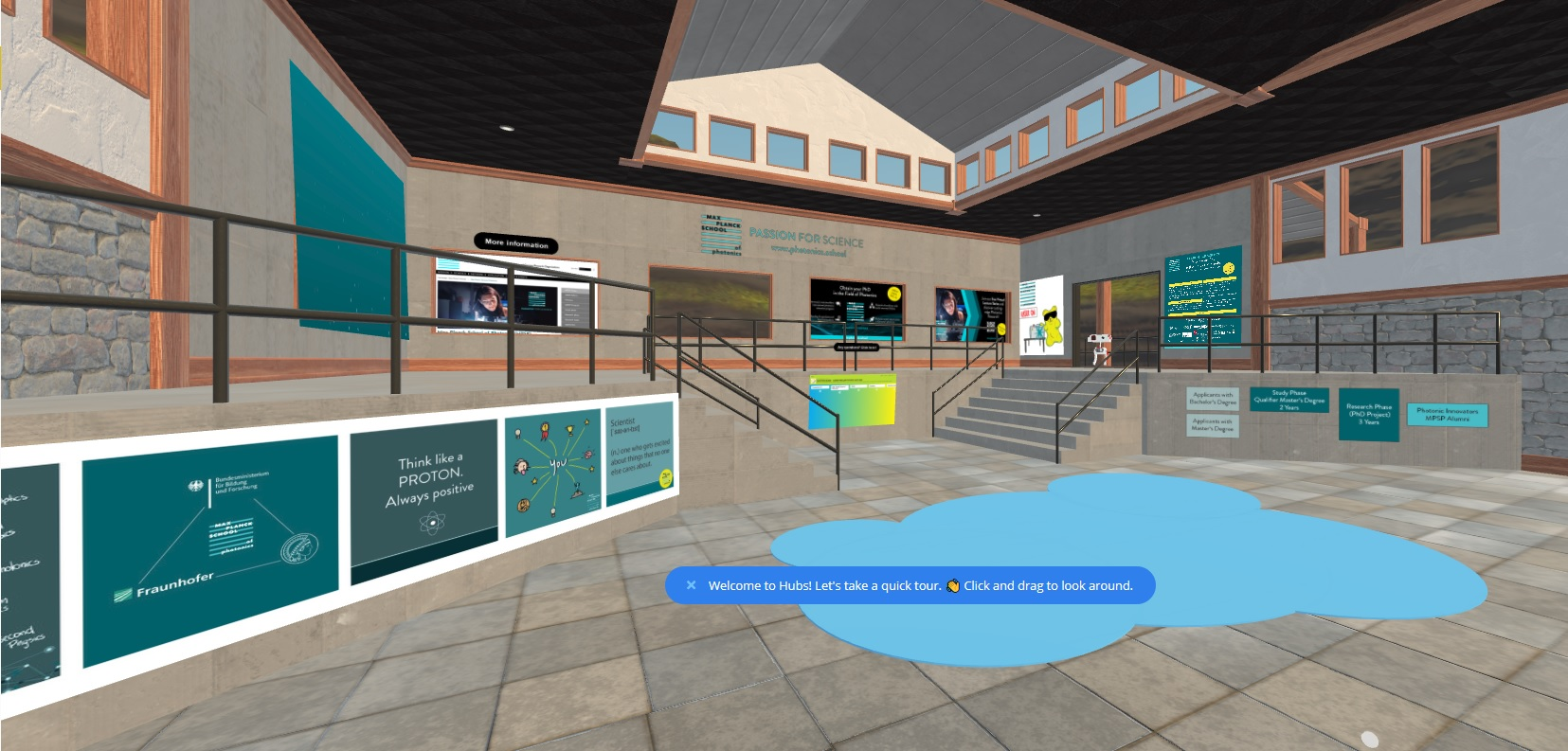 Virtual hall with posters from the Max Planck School of Photonics.
