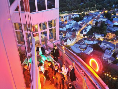 Terrace of Scala Restaurant with view over Jena.